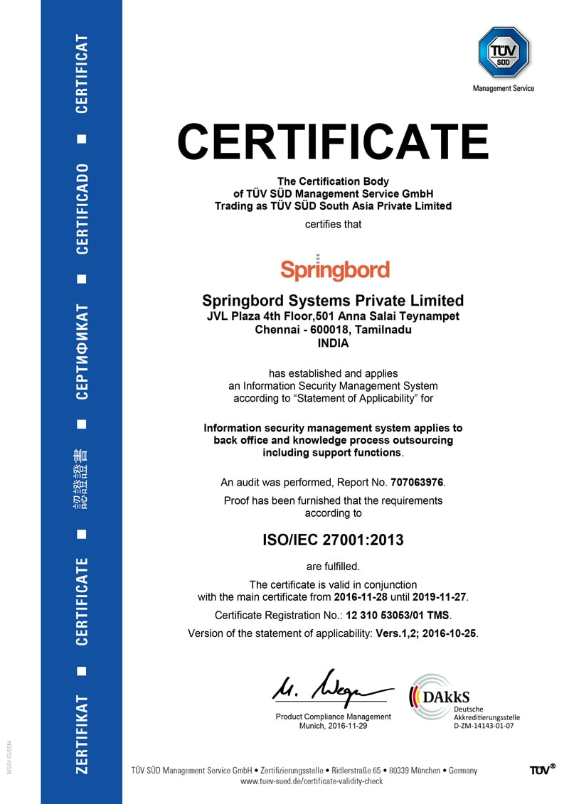 ISO 27001 certificate example